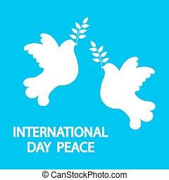 jour arbre, international, branche, vacances, colombe, paix