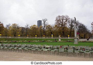 jour automne, jardin, nuageux, luxembourg