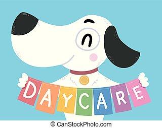 jour, bannière, chien, illustration, soin