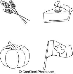 jour, blé, flag., contour, morceau, style, symbole, ensemble, vecteur, thanksgiving, national, canada, stockage, pointe, tarte, web., icônes, illustration, citrouille, collection, canneberges
