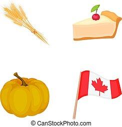 jour, blé, flag., morceau, style, symbole, ensemble, vecteur, thanksgiving, dessin animé, national, canada, stockage, pointe, tarte, web., icônes, illustration, citrouille, collection, canneberges