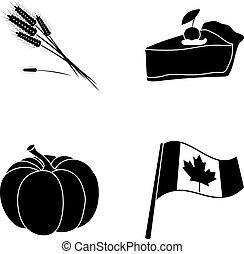 jour, blé, flag., morceau, style, symbole, ensemble, vecteur, thanksgiving, national, canada, stockage, pointe, tarte, web., icônes, noir, illustration, citrouille, collection, canneberges