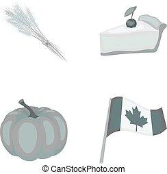 jour, blé, flag., morceau, style, symbole, ensemble, vecteur, thanksgiving, national, canada, stockage, pointe, tarte, web., monochrome, icônes, illustration, citrouille, collection, canneberges