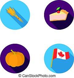 jour, blé, flag., morceau, style, symbole, ensemble, vecteur, thanksgiving, plat, national, canada, stockage, pointe, tarte, web., icônes, illustration, citrouille, collection, canneberges