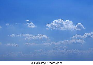 jour, bleu, ensoleillé, ciel, nuages, beau, blanc