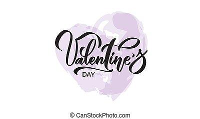 jour, card., heureux, valentin, dessiné, s, main, heart.