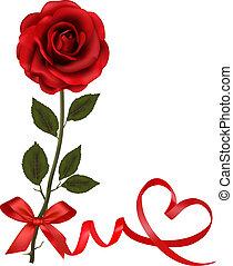 jour, card., petite amie, roses, bow., cadeau, vecteur, rouges, illustration.