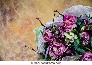 jour, carte affaires, tulipes, lis, arrière-plan., présent, gabarit, mariage, béton, vacances, hortensia, conception, salutations, vendange, card., floral, mère, invitations, flowers., pivoines