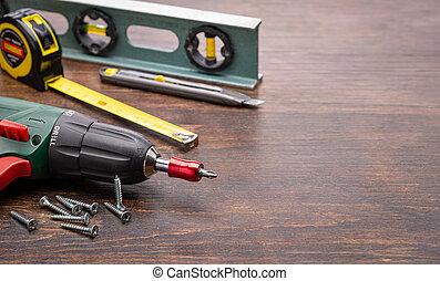 jour, carte, outils, salutation, men., tools., ensemble, maison, père, toolkit., chaque, concept.