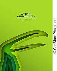 jour, carte, sauvage, papercut, oiseau, toucan, animal