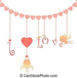 jour, carte, valentine