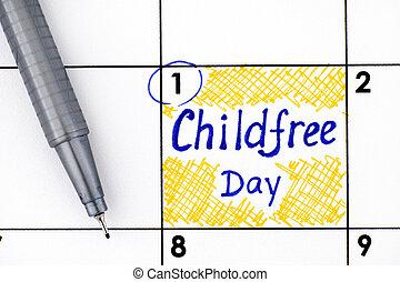 jour, childfree, calendrier, pen., rappel
