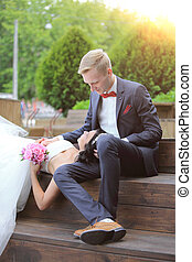 jour, closeup., couple, mariage