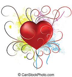 jour, coeur, grunge, fond, valentines