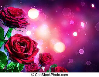 jour, coeur, roses, -, valentines