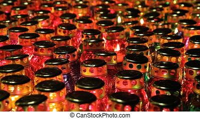 jour commémoratif, bougies, beaucoup, verre