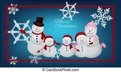 jour, complet, noël famille, soir, bonhomme de neige