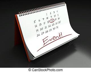jour, concept, calendrier, événement, important