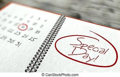 jour, concept, calendrier, important, spécial