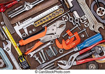 jour, concept, holidays., style., metal., outils, hommes, père, fonctionnement, autre