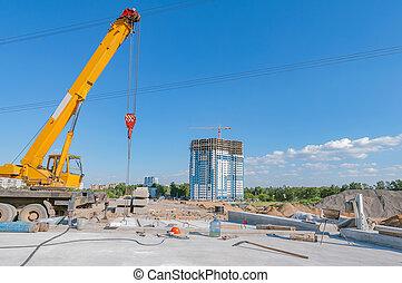 jour, construction route, time., site, nouveau