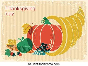 jour, corne abondance, éléments, heureux, citrouille, affiche, thanksgiving, vendange, automne