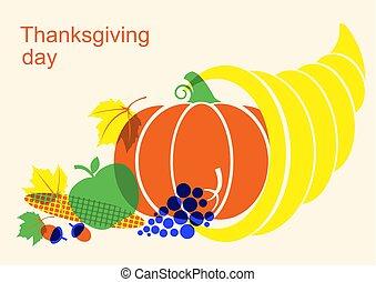 jour, corne abondance, éléments, heureux, citrouille, thanksgiving, automne