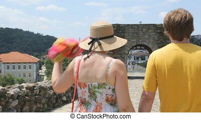 jour, couple, jeune, vacances, été