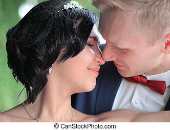jour, couple, mariage, tendre, aimer, closeup.