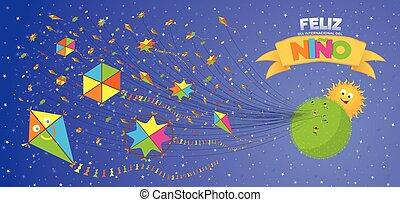 jour, courant, heureux, ciel, carte, -, espagnol, language., feliz, del, vert, enfants, enfants, planète, cerfs volants, derrière, soleil, beaucoup, fond, salutation, nino, voler, pourpre, dia