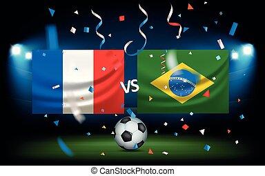 jour, de, les, match., france, contre, brésil