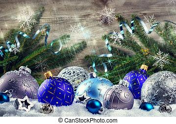 jour férié christmas, monture, à, bleu, babioles, et, snowflakes., noël, fond