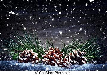 jour férié christmas, monture, à, cônes pin, et, arbre sapin, branches, pose, dans, neige