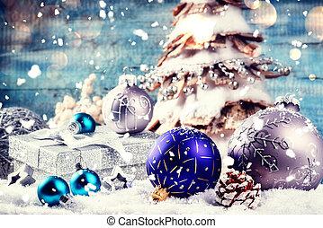 jour férié christmas, monture, à, fête, décorations, dans, argent, tonalité, pose, dans, neige