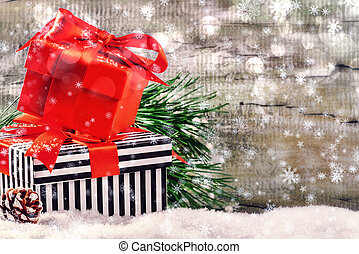 jour férié christmas, monture, à, présente, dans, boîtes, sur, neige