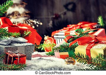 jour férié christmas, monture, à, présente, dans, divers, boîtes, pose, dans, neige