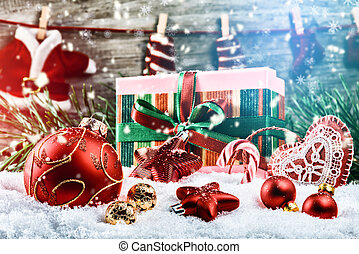 jour férié christmas, monture, à, présente, et, babioles