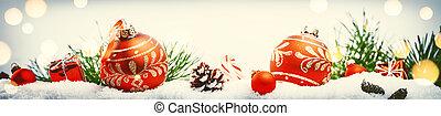 jour férié christmas, monture, à, rouges, babioles, et, présente, pose, dans, neige