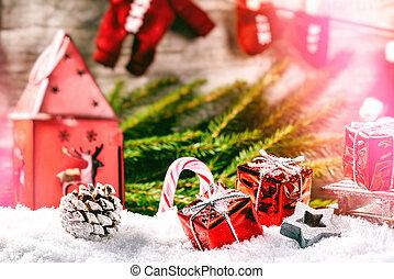 jour férié christmas, monture, à, santa, vêtements, guirlande, rouges, présente, pose, dans, snow., noël, fond