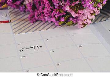 jour, flowers., planification, mariage, frais, calendrier, rappel