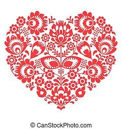jour, folklorique, coeur, art, rouges, valentines