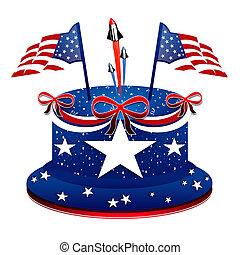jour, gâteau, patriotique, -, président