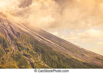 jour, haut, tungurahua, fin, explosion, volcan