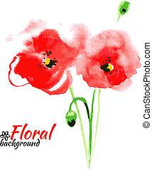 jour, heureux, mère, aquarelle, vecteur, cartes, peinture, rouges, illustration., beau, poppy.