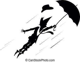 jour, homme, parapluie, venteux, illustration