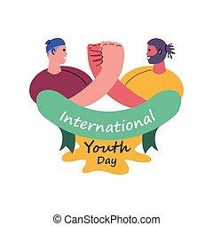 jour, hommes, jeunesse, international, célébrer