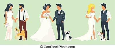 jour, illustration, mariage