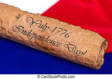 jour indépendance, 4, juillet, 1776