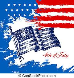 jour indépendance, flag., juillet, fond, américain, 4ème, croquis, conception, vendange, main, dessiné