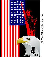 jour indépendance, juillet, uni, 4ème